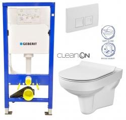 GEBERIT DuofixBasic s bílým tlačítkem DELTA50 + WC CERSANIT CITY NEW CLEANON + WC SEDÁTKO SLIM (458.103.00.1 50BI CI2)