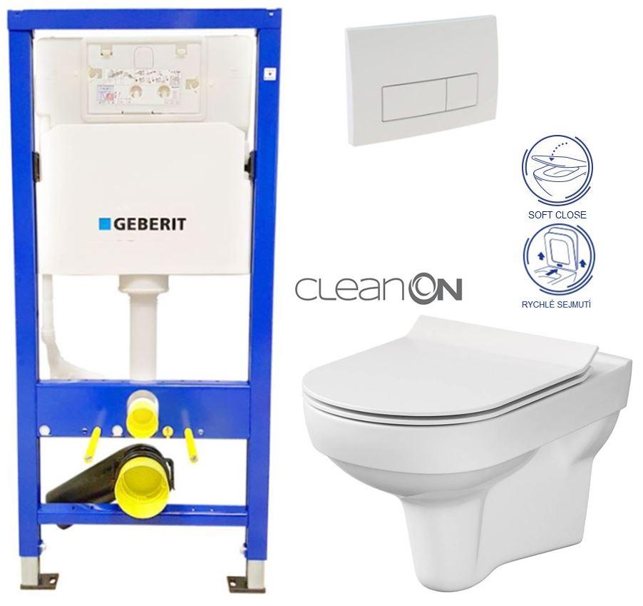 Levně GEBERIT DuofixBasic s bílým tlačítkem DELTA51 + WC CERSANIT CITY NEW CLEANON + WC SEDÁTKO SLIM 458.103.00.1 51BI CI2
