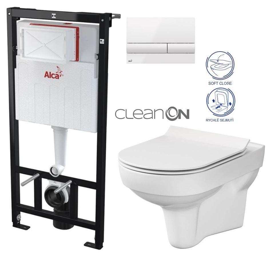 ALCAPLAST Sádromodul předstěnový instalační systém s bílým tlačítkem M1710 + WC CERSANIT CITY NEW CLEANON + WC SEDÁTKO SLIM AM101/1120 M1710 CI2