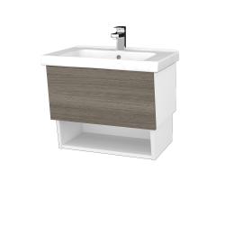 Dřevojas - Koupelnová skříň INVENCE SZZO 65 (umyvadlo Harmonia) - L01 Bílá vysoký lesk / D03 Cafe (147068)