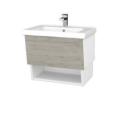 Dřevojas - Koupelnová skříň INVENCE SZZO 65 (umyvadlo Harmonia) - L01 Bílá vysoký lesk / D05 Oregon (147082)