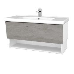 Dřevojas - Koupelnová skříň INVENCE SZZO 100 (umyvadlo Harmonia) - L01 Bílá vysoký lesk / D01 Beton (147617)