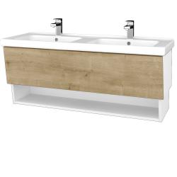 Dřevojas - Koupelnová skříň INVENCE SZZO 125 (dvojumyvadlo Harmonia) - L01 Bílá vysoký lesk / D09 Arlington (147846)
