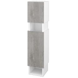 Dřevojas - Skříň vysoká INVENCE SVD2O 35 - L01 Bílá vysoký lesk / D01 Beton / Levé (147945)