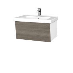 Dřevojas - Koupelnová skříň INVENCE SZZ 65 (umyvadlo Harmonia) - L01 Bílá vysoký lesk / D03 Cafe (176228)