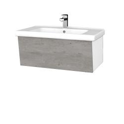 Dřevojas - Koupelnová skříň INVENCE SZZ 80 (umyvadlo Harmonia) - L01 Bílá vysoký lesk / D01 Beton (178888)