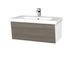 Dřevojas - Koupelnová skříň INVENCE SZZ 80 (umyvadlo Harmonia) - L01 Bílá vysoký lesk / D03 Cafe (178901)