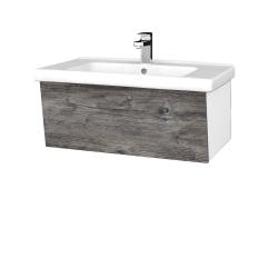 Dřevojas - Koupelnová skříň INVENCE SZZ 80 (umyvadlo Harmonia) - L01 Bílá vysoký lesk / D10 Borovice Jackson (178956)