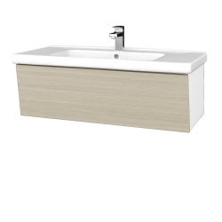 Dřevojas - Koupelnová skříň INVENCE SZZ 100 (umyvadlo Harmonia) - L01 Bílá vysoký lesk / D04 Dub (180454)