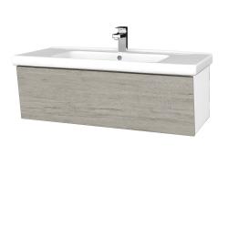 Dřevojas - Koupelnová skříň INVENCE SZZ 100 (umyvadlo Harmonia) - L01 Bílá vysoký lesk / D05 Oregon (180461)