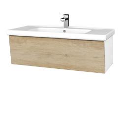 Dřevojas - Koupelnová skříň INVENCE SZZ 100 (umyvadlo Harmonia) - L01 Bílá vysoký lesk / D15 Nebraska (180522)
