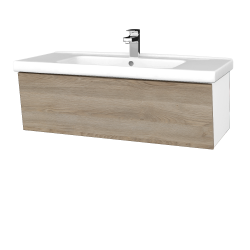 Dřevojas - Koupelnová skříň INVENCE SZZ 100 (umyvadlo Harmonia) - L01 Bílá vysoký lesk / D17 Colorado (180546)