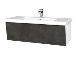 Dřevojas - Koupelnová skříň INVENCE SZZ 100 (umyvadlo Harmonia) - L01 Bílá vysoký lesk / D16 Beton tmavý (180539)