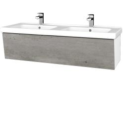 Dřevojas - Koupelnová skříň INVENCE SZZ 125 (dvojumyvadlo Harmonia) - L01 Bílá vysoký lesk / D01 Beton (184278)