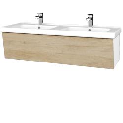Dřevojas - Koupelnová skříň INVENCE SZZ 125 (dvojumyvadlo Harmonia) - L01 Bílá vysoký lesk / D15 Nebraska (184377)