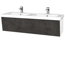 Dřevojas - Koupelnová skříň INVENCE SZZ 125 (dvojumyvadlo Harmonia) - L01 Bílá vysoký lesk / D16 Beton tmavý (184384)