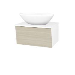 Dřevojas - Koupelnová skříň INVENCE SZZ 65 (umyvadlo Triumph) - L01 Bílá vysoký lesk / D04 Dub (178550)