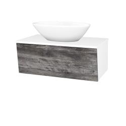 Dřevojas - Koupelnová skříň INVENCE SZZ 80 (umyvadlo Triumph) - L01 Bílá vysoký lesk / D10 Borovice Jackson (181666)