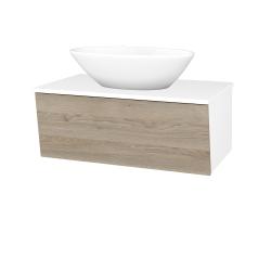 Dřevojas - Koupelnová skříň INVENCE SZZ 80 (umyvadlo Triumph) - L01 Bílá vysoký lesk / D17 Colorado (181703)