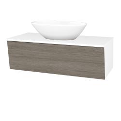 Dřevojas - Koupelnová skříň INVENCE SZZ 100 (umyvadlo Triumph) - L01 Bílá vysoký lesk / D03 Cafe (183929)