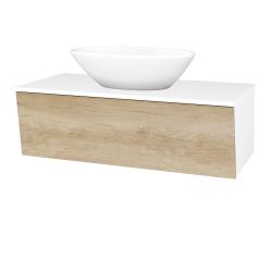 Dřevojas - Koupelnová skříň INVENCE SZZ 100 (umyvadlo Triumph) - L01 Bílá vysoký lesk / D15 Nebraska (184001)