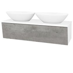 Dřevojas - Koupelnová skříň INVENCE SZZ 125 (2 umyvadla Triumph) - L01 Bílá vysoký lesk / D01 Beton (186593)