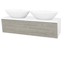 Dřevojas - Koupelnová skříň INVENCE SZZ 125 (2 umyvadla Triumph) - L01 Bílá vysoký lesk / D05 Oregon (186630)