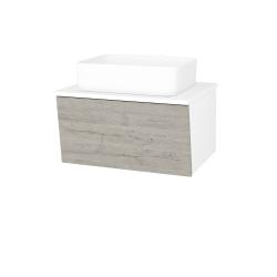 Dřevojas - Koupelnová skříň INVENCE SZZ 65 (umyvadlo Joy) - L01 Bílá vysoký lesk / D05 Oregon (176822)