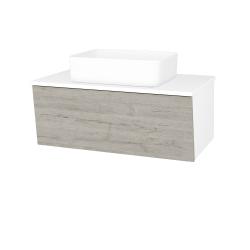 Dřevojas - Koupelnová skříň INVENCE SZZ 80 (umyvadlo Joy) - L01 Bílá vysoký lesk / D05 Oregon (179489)