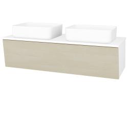 Dřevojas - Koupelnová skříň INVENCE SZZ 125 (2 umyvadla Joy) - L01 Bílá vysoký lesk / D02 Bříza (184865)