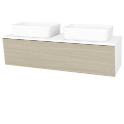 Dřevojas - Koupelnová skříň INVENCE SZZ 125 (2 umyvadla Joy) - L01 Bílá vysoký lesk / D04 Dub (184889)