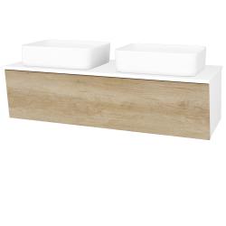 Dřevojas - Koupelnová skříň INVENCE SZZ 125 (2 umyvadla Joy) - L01 Bílá vysoký lesk / D15 Nebraska (184957)