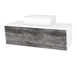 Dřevojas - Koupelnová skříň INVENCE SZZ 100 (umyvadlo Joy 3) - L01 Bílá vysoký lesk / D10 Borovice Jackson (183400)