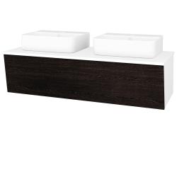 Dřevojas - Koupelnová skříň INVENCE SZZ 125 (2 umyvadla Joy 3) - L01 Bílá vysoký lesk / D08 Wenge (186074)