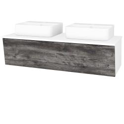 Dřevojas - Koupelnová skříň INVENCE SZZ 125 (2 umyvadla Joy 3) - L01 Bílá vysoký lesk / D10 Borovice Jackson (186098)