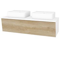 Dřevojas - Koupelnová skříň INVENCE SZZ 125 (2 umyvadla Joy 3) - L01 Bílá vysoký lesk / D15 Nebraska (186111)