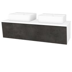 Dřevojas - Koupelnová skříň INVENCE SZZ 125 (2 umyvadla Joy 3) - L01 Bílá vysoký lesk / D16 Beton tmavý (186128)