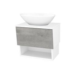 Dřevojas - Koupelnová skříň INVENCE SZZO 65 (umyvadlo Triumph) - L01 Bílá vysoký lesk / D01 Beton (178239)