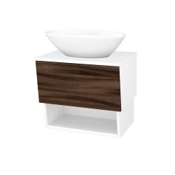 Dřevojas - Koupelnová skříň INVENCE SZZO 65 (umyvadlo Triumph) - L01 Bílá vysoký lesk / D06 Ořech (178284)