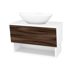 Dřevojas - Koupelnová skříň INVENCE SZZO 80 (umyvadlo Triumph) - L01 Bílá vysoký lesk / D06 Ořech (181338)