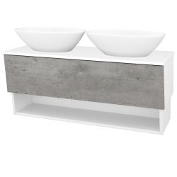 Dřevojas - Koupelnová skříň INVENCE SZZO 125 (2 umyvadla Triumph) - L01 Bílá vysoký lesk / D01 Beton (186302)