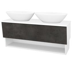 Dřevojas - Koupelnová skříň INVENCE SZZO 125 (2 umyvadla Triumph) - L01 Bílá vysoký lesk / D16 Beton tmavý (186418)