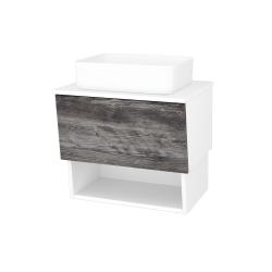 Dřevojas - Koupelnová skříň INVENCE SZZO 65 (umyvadlo Joy) - L01 Bílá vysoký lesk / D10 Borovice Jackson (176570)