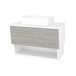 Dřevojas - Koupelnová skříň INVENCE SZZO 80 (umyvadlo Joy) - L01 Bílá vysoký lesk / D05 Oregon (179243)