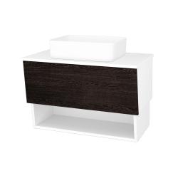 Dřevojas - Koupelnová skříň INVENCE SZZO 80 (umyvadlo Joy) - L01 Bílá vysoký lesk / D08 Wenge (179267)