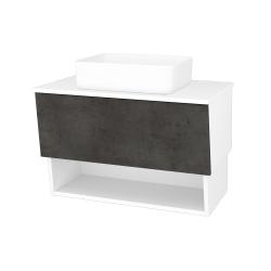 Dřevojas - Koupelnová skříň INVENCE SZZO 80 (umyvadlo Joy) - L01 Bílá vysoký lesk / D16 Beton tmavý (179151)