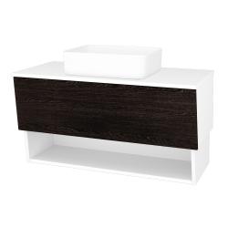 Dřevojas - Koupelnová skříň INVENCE SZZO 100 (umyvadlo Joy) - L01 Bílá vysoký lesk / D08 Wenge (181932)