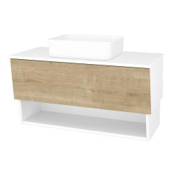 Dřevojas - Koupelnová skříň INVENCE SZZO 100 (umyvadlo Joy) - L01 Bílá vysoký lesk / D09 Arlington (181949)