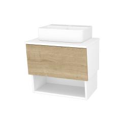 Dřevojas - Koupelnová skříň INVENCE SZZO 65 (umyvadlo Joy 3) - L01 Bílá vysoký lesk / D09 Arlington (177720)