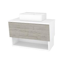 Dřevojas - Koupelnová skříň INVENCE SZZO 80 (umyvadlo Joy 3) - L01 Bílá vysoký lesk / D05 Oregon (180751)